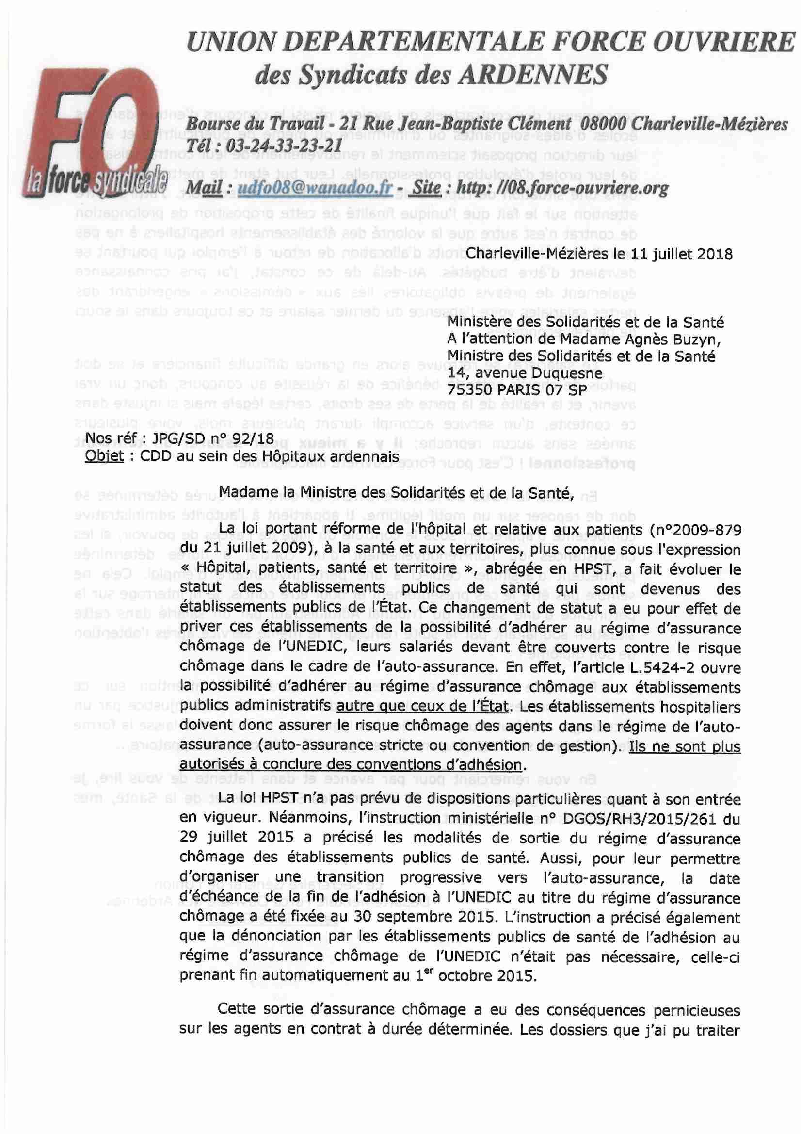 Lettre A L Attention De Madame Agnes Buzyn Ministre Des